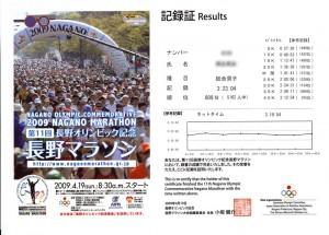 長野マラソン記録証