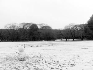 砧公園の雪だるま